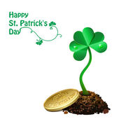 Gold coin on pile of soil and leaf clovers. Happy St. Patrick's Day — Stock Vector