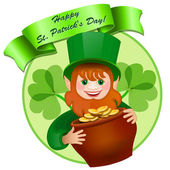 Cheerful leprechaun with a pot of money. Happy St. Patrick's Day — Stock Vector