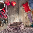 Hot mulled wine, a sweater and a blanket — Stock Photo #38416069