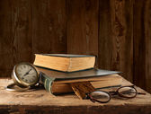 Vintage book, glasses and watches — Stock Photo