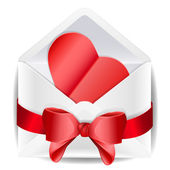 Envelope with red bow and heart. — Cтоковый вектор