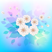 White flowers on a watercolor background. — Stock Vector