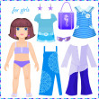 Stock Vector: Paper doll with a set of clothes to stay