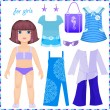 Stock Vector: Paper doll with set of clothes to stay