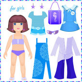 Paper doll with a set of clothes to stay — Stock Vector