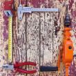 Set of different tools on a wooden background — Stock Photo
