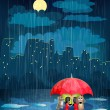 Stock Vector: Child under umbrellin night city.