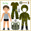 Stock vektor: Paper doll with set of clothes.