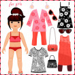 Paper doll with a set of fashion clothes. — Stock Vector