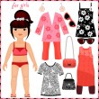 Paper doll with set of fashion clothes. — Vector de stock #41104121