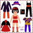 Stockvector : Paper doll with set of fashion clothes. Cute hipster girl.