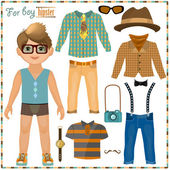 Paper doll with a set of clothes. Cute hipster boy. — Stock Vector