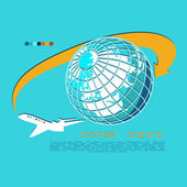 Plane was flying around the globe. Stylized graphics — Stockvektor