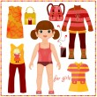 Stock Vector: Paper doll with set of fashion clothes.