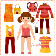 Stock vektor: Paper doll with set of fashion clothes.