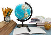 School supplies and globe — Stock Photo