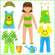 Paper doll with a set of clothes. — Stock Vector