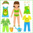 Paper doll with a set of clothes. — Stock Vector #42414895