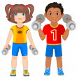 Smiling boy and girl with dumbbells. — Stock Vector #42414955