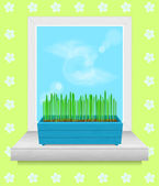 Box with grass stands on the windowsill. — Stock Vector