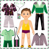 Paper doll with a set of fashionable clothing. — Stock Vector