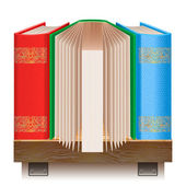 Books on a wooden shelf. — Stock Vector