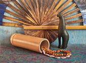Exotic background with sacred Egyptian cat — Stock Photo