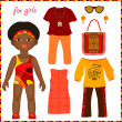 Paper doll with a set of colorful ethnic clothing. Cute little A — Stock Vector