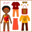 Paper doll with a set of colorful ethnic clothing. Cute little A — Stock Vector #42768307
