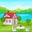 River House with mountain views. — Stock Vector #43201393
