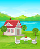 River House with mountain views. — Stock Vector