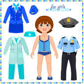 Paper doll with a set of professional clothings. — Stock Vector
