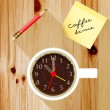 Office desk with a cup of coffee with a pencil, coffee time — Stock Vector