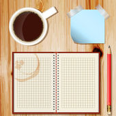 Office desk with coffee cup, pencil and notepad — Stock Vector