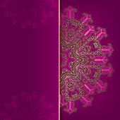 Luxus dunkel rosa karte mit gold ornament — Stockvektor