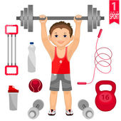 Young man with  barbell and  set of sports equipment — Wektor stockowy