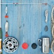 Frame of fishing tackles — Stock Photo