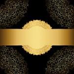 Gold frame on a black background. Elegant label — Stock Vector #45428227