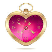 Gold pocket watch in the form of heart — Stock Vector