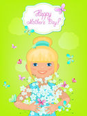 Little girl with a bouquet of white flowers. Happy Mother's Day. — Stock Vector