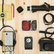 Collection equipment for tourist or expedition. Retro concept — Stock Photo