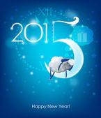 Happy New Year 2015. Original Christmas card. Sheep sleeps on a  — Vector de stock