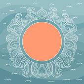 Frame with abstract decorative sun and waves — Stockvektor