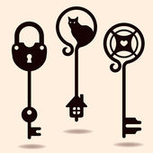 Unique silhouettes of keys — Stock Vector