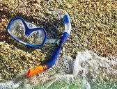 Scuba mask and snorkel — Stock Photo
