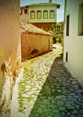 Old street with paving stones expensive — Stok fotoğraf