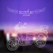 Hand-drawn scooter — Vecteur