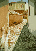 Old street with paving stones expensive — Vettoriale Stock