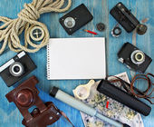 Set of retro items for tourists and travelers — Stock Photo