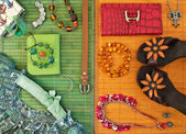 Fashionable women's clothing and accessories — Stock Photo